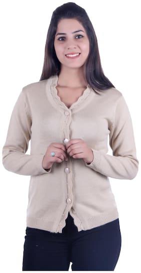 Ogarti Women Solid Cardigan - Beige
