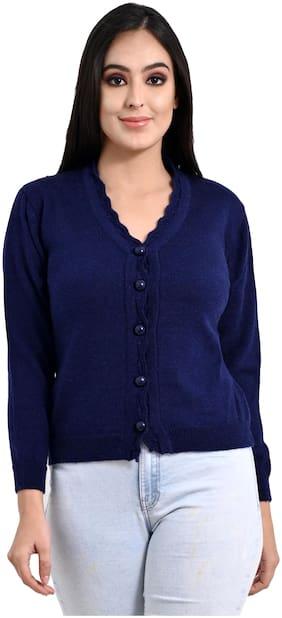 Ogarti Women Solid Cardigan - Navy Blue
