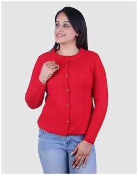 Ogarti Women Self Design Cardigan - Red