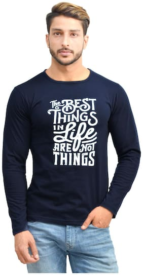 OH YES Men Blue Regular fit Cotton Round neck T-Shirt - Pack Of 1