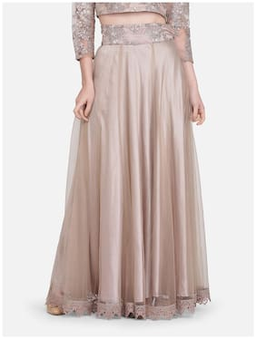 Ojjasvi Net Stitched Women Flared Skirt Grey