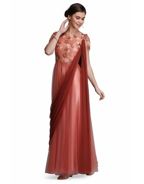 Ojjasvi Peach & Brown Fusion Gown