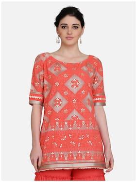Ojjasvi Women Orange Embroidered Straight Kurta