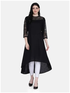 Ojjasvi  Women Viscose Rayon Embroidered Black Kurta
