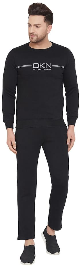 Okane Men Black Solid Regular Fit Track Suit