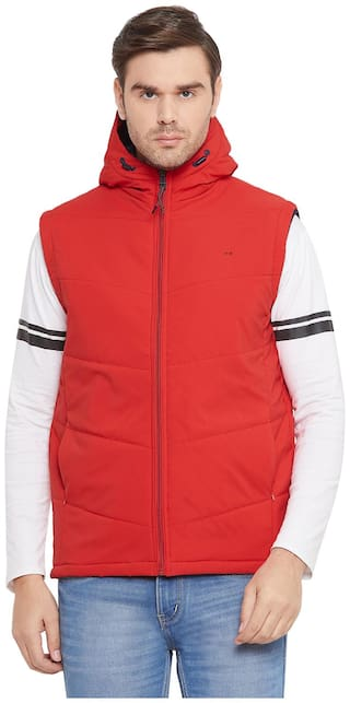 Okane Men Red Solid Quilted jacket