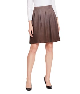 OXOLLOXO Solid A-line Skirt Mini Skirt - Brown