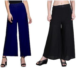 Omikka Women Malia Lycra Wide Leg Palazzo Pants Pack of 2 (Free Size)