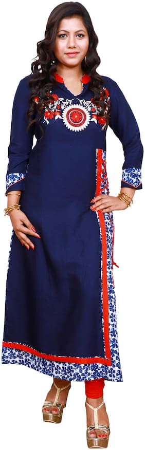 Women Embroidered Angrakha Kurti