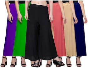 Women Blended Palazzo ,Pack Of 6