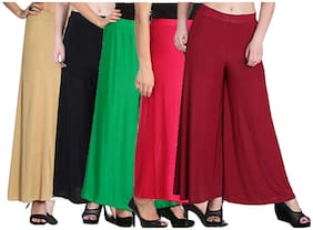 Women Blended Palazzo ,Pack Of 5