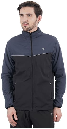 On-Vers Men Grey Solid Quilted jacket