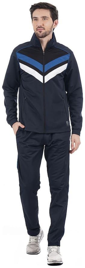On-Vers Men Blue Solid Regular Fit Track Suit