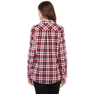 Full Plaid Sleeve Shirt Femme Cotton Women's One 6qxIPtv