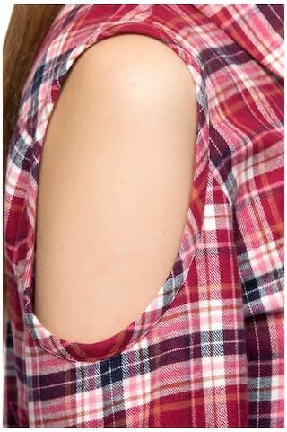 Plaid One Sleeve Women's Full Shoulder Cotton Femme Shirt Cold ZPUqxPS