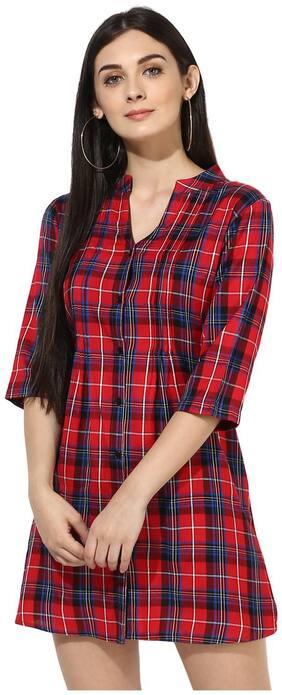 One Femme Women Cotton Checked - Regular tunic Multi