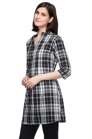 Tunic Femme Check Plaid One Women's Print Shirt n4TdAX