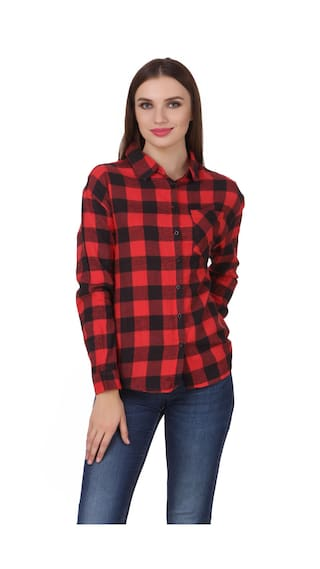 One Femme Women's Cotton Plaid Full- Sleeve Warm Shirt (Plus Size)
