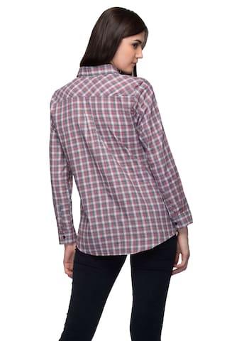 Shirt Sleeve Plaid Femme Full Women's One Cotton HqzFY