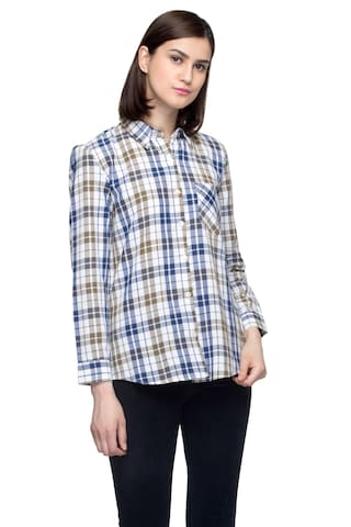 One Femme Women's Cotton Plaid Full- Sleeve Shirt