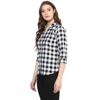 Mandarin Women's Femme Shirt Collar Checkered One tR8Tpwqt