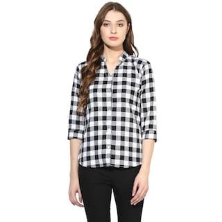 One Femme Women's Checkered Mandarin Collar Shirt