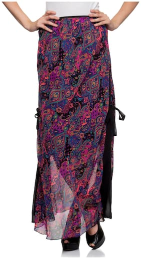 One Femme Women's Printed Long Maxi Skirt With Side Belt