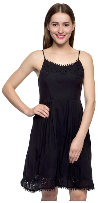 Solid One Lbd Black Little Femme Dress Embroidered Women's TwOgCq