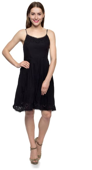 Little Femme Solid Women's Dress Lbd Embroidered Black One I817Aq