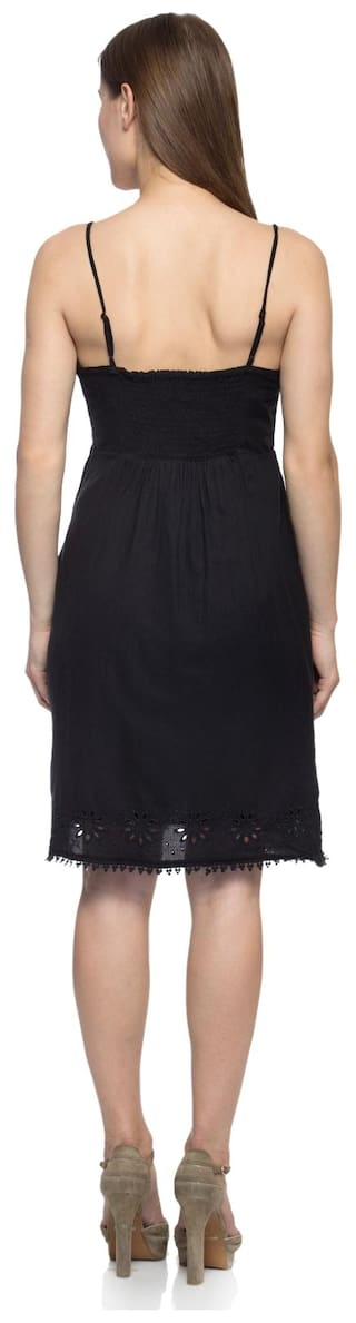 Femme Little Solid Embroidered Dress Lbd Women's Black One z6qSd1d