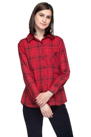 One Femme Women's Cotton Plaid Full- Sleeve Shirt