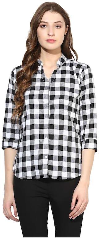 One Femme Women Black Checked Regular Fit Shirt