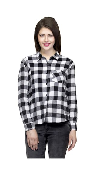 One Cotton Plus Plaid Warm Shirt Women's Full Femme Sleeve Size O17rxO