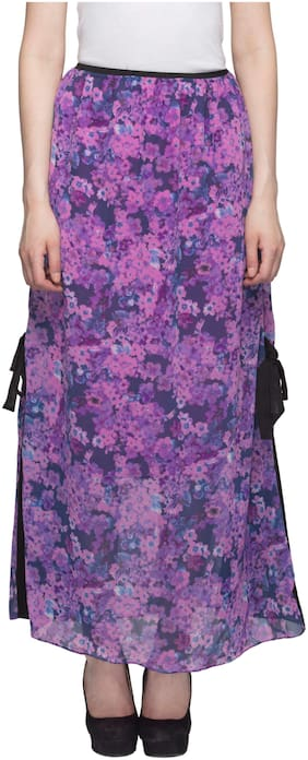 One Femme Printed Flared skirt Maxi Skirt - Purple