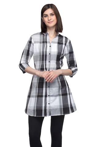 One Femme Women's Plaid Check Print Tunic Shirt