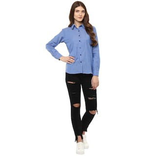 Down Shirt Solid Femme One Women's Button ZRnqIRXw