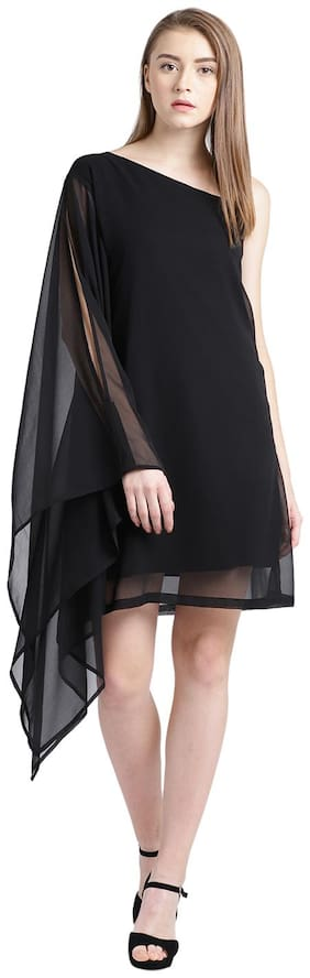 Trend Arrest Black Solid Sheath dress