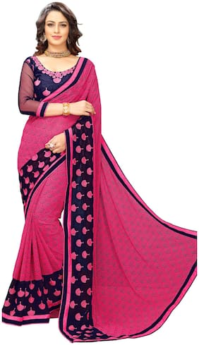 Onlinefayda Pink Color Georgette Saree