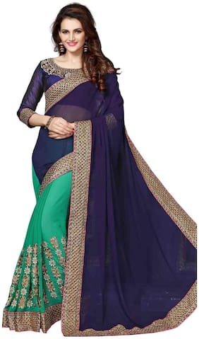 OnlineFayda Navy Blue&Green Coloured Georgette magnificent Saree
