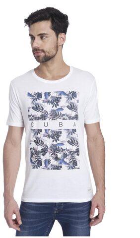 ONLY & SONS Men Slim Fit Round Neck Printed T-Shirt - White