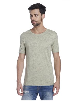 ONLY & SONS Men Slim Fit Round Neck Printed T-Shirt - Green