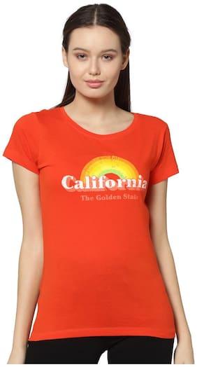ONLY Women Printed Round neck T shirt - Orange