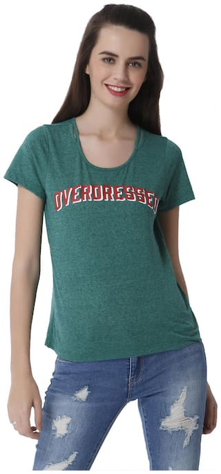 ONLY Women Printed Round neck T shirt - Green