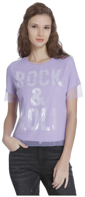 ONLY Printed Purple T Shirt