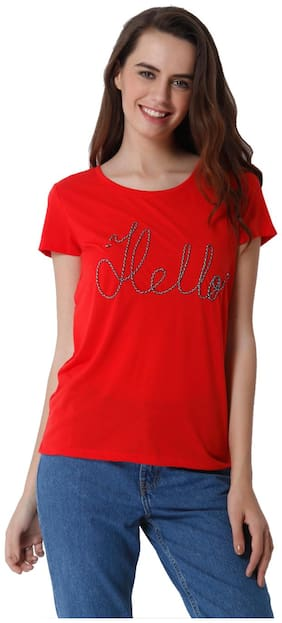 ONLY Women Solid Round neck Tank top - Red
