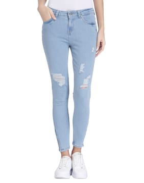 ONLY Women Slim Fit Mid Rise Solid Jeans - Blue
