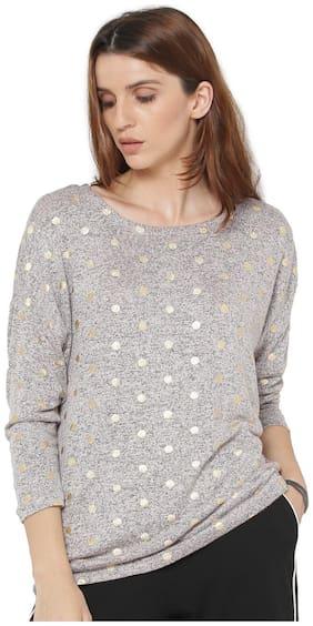 ONLY Women Polka dots Round neck T shirt - Grey