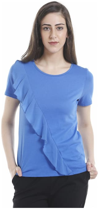 ONLY Women Solid Round neck T shirt - Blue