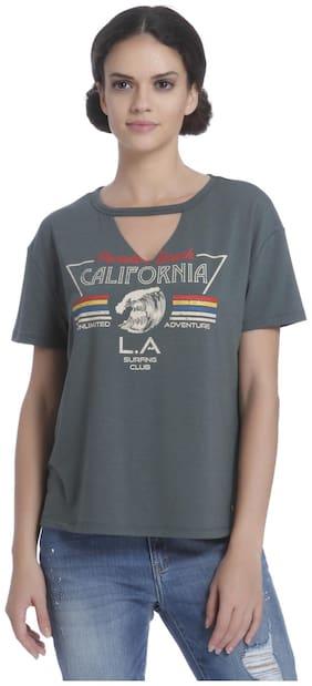 ONLY Women Printed Halter neck T shirt - Grey