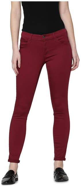 ONLY Women Regular fit Mid rise Solid Regular pants - Maroon